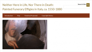 The introductory page to the Omeka exhibit: Neither Here in Life, Nor There in Death