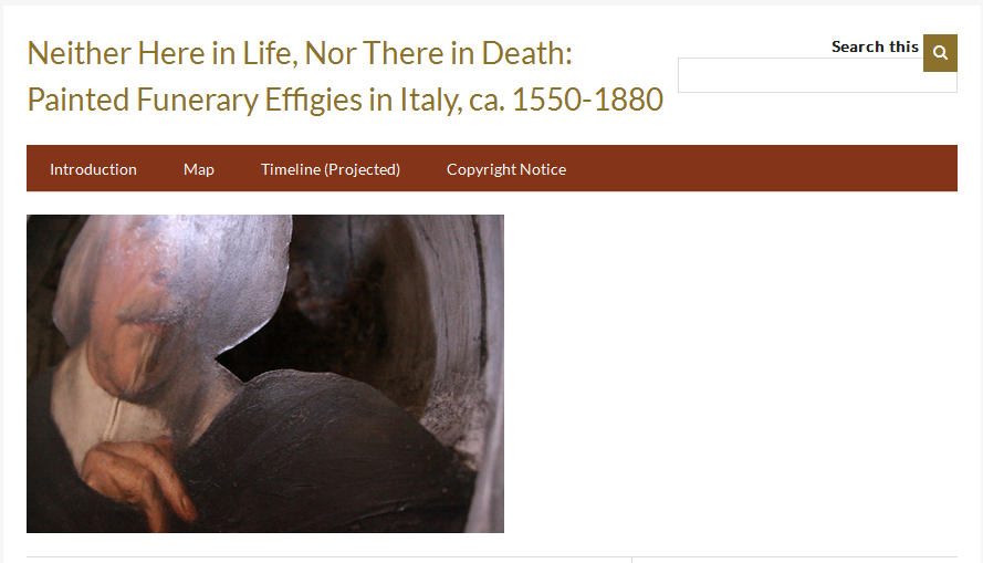 The introductory page to the Omeka webpage: Neither Here in Life, Nor There in Death