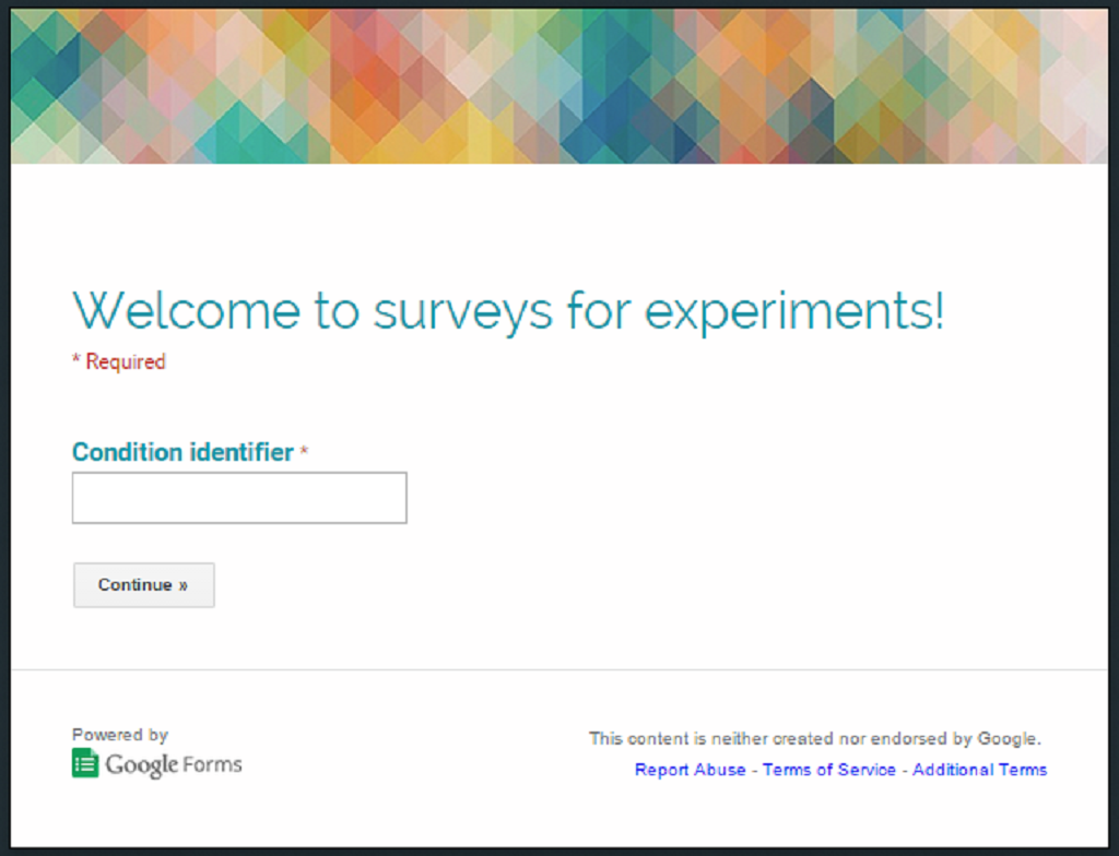 Using Google Forms to make surveys for your experiment: An intro