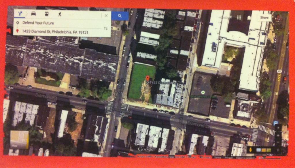 Figure 1: Defend The Future Garden via Googlemaps/Photoshop (Duckrey Elementary School is the large building to the left garden green space)