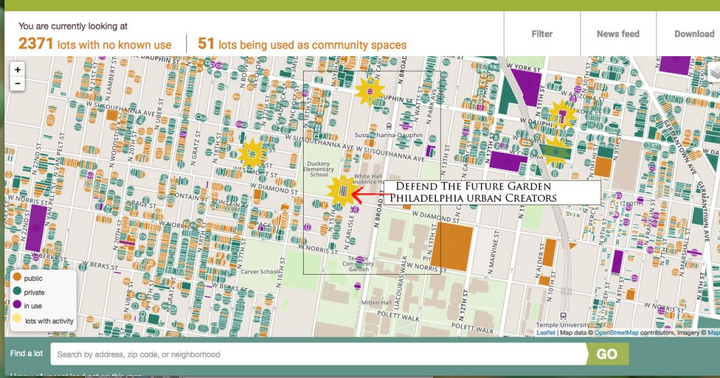 Figure 2: Grounded In Philly Screenshot: Defend The Future Garden is shown as being a lot with activity.