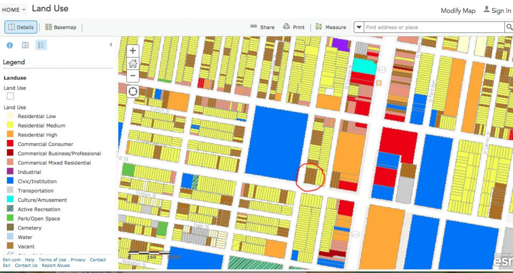 Figure 3: ArcGIS Land Use Map (red circle is Defend The Future Garden) All the brown lots are considered vacant.