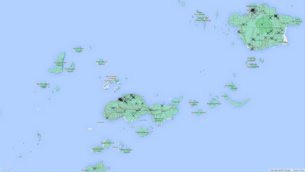 QGIS Philippines-Location of some Abu Sayyaf terrorist attacks.