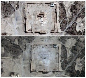 Before and after: Destruction at Palmyra, August 2015 (Photo: Reuters)