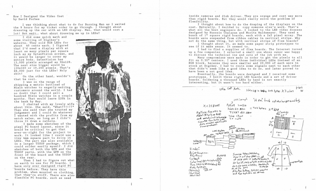 "An example of the inside of one of Garnet Hertz publications. This page shows ""How I Designed the Video Coat"" by David Forbes."