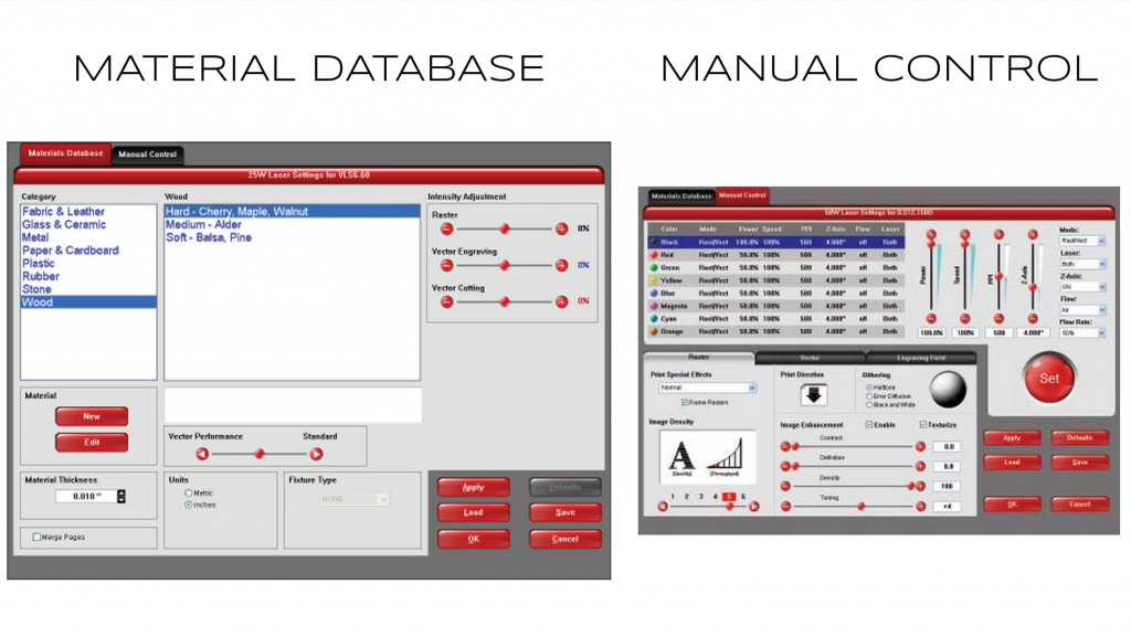 Material Database and Manual Control