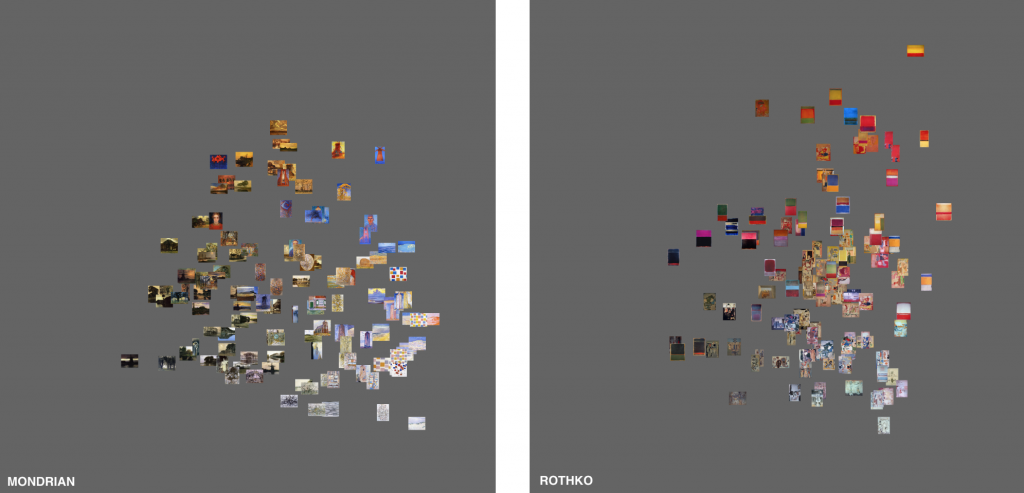 ImagePlot comparison of Mondrian and Rothko Paintings, Visualization by Software Studies Initiative (2011)