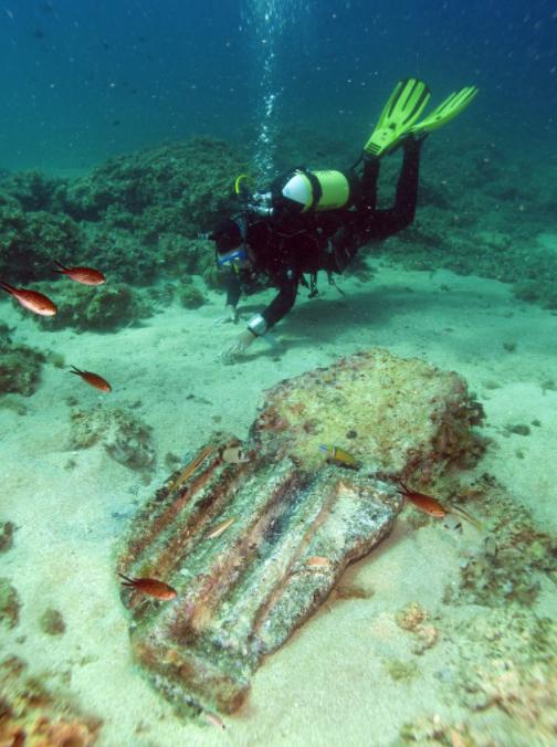 Architectural fragment from Marzamemi II 'Church Wreck,' Image: Salvo Emma (Sopritendenza del Mare)