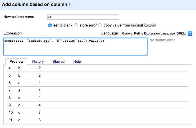 Description of step 6. The function used: cell.cross('sample4 csv', 's')[0].cells['sID'].value