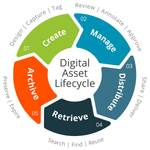 Digital Asset Lifecyle Diagram. Shows that digital assets are created, managed, distributed, retrieved, and archived.