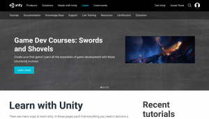 Screenshot of Unity home page