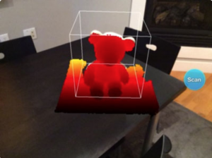 Defining a bounding box in the Structure Sensor app. This encases the object being scanned