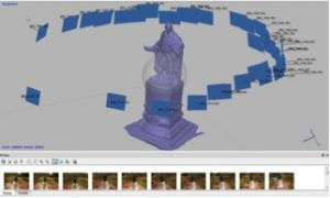 Screen capture of the agisoft software, showing the process of taking series of photographs that are used to build a model
