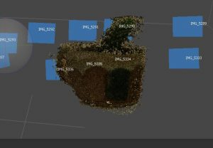 Screen shot of building a point cloud in agisoft