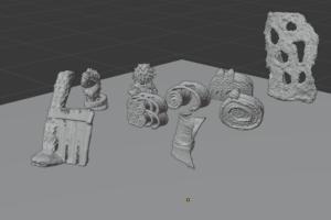 several 3D models together in a digital space via blender