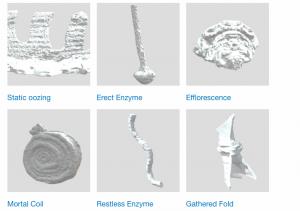 Six grey scale digital objects