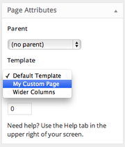 Select the page template by finding the Template drop-down menu under the Page Attributes section of the Page edit screen.