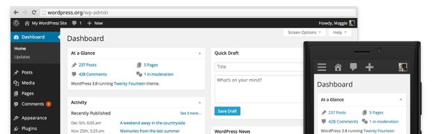 Overview of new WordPress design for version 3.8