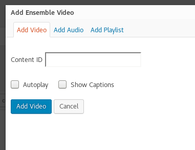 Add Ensemble Video Popup