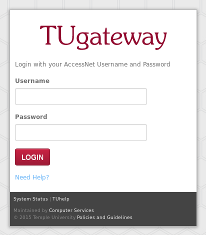 Screenshot of the TUgateway login page.